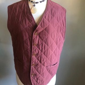 Club Monaco Quilted Vest Burgundy Size Medium